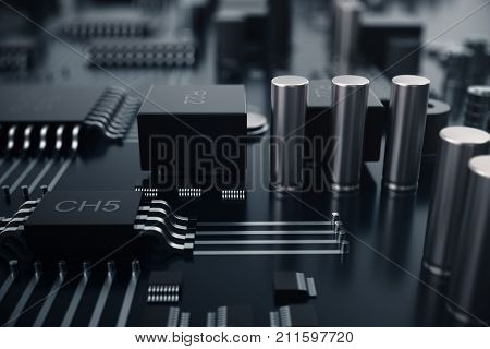 3D rendering Central Computer Processors CPU concept. Electronic engineer of computer technology. Computer board chip circuit cpu core, Hardware concept electronic device motherboard semiconductor