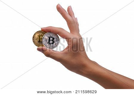 Young Man Hand Holding Up Golden And Silver Bitcoin With Ok Sign Or Ok Symbol. Close Up Of Bitcoin I