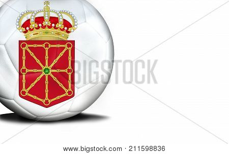 The flag of Navarra coat of arms was represented on the ball, the ball is isolated on a white background with space for your text.