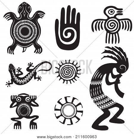 Set of Native Americans ethnic symbols. Aztec symbols. Black and white.