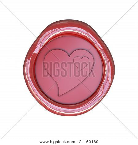 Wax seal with heart symbols