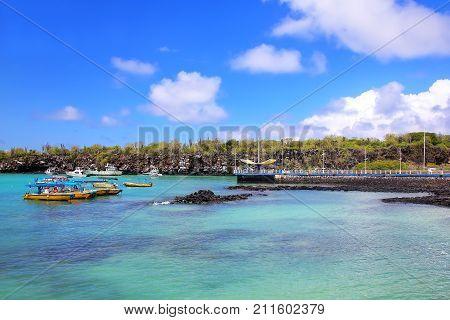 Puerto Ayora Harbor On Santa Cruz Island, Galapagos National Park, Ecuador