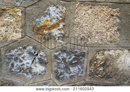 Seamless Abstract Background. Textured Rock Wall With Various Sizes Of Stones Covered By The Lichen.