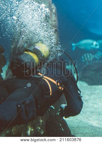 The scuba diver swims under the water.