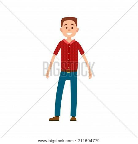 Man in casual cloth wears red checkered t-shirt and blue jeans vector illustration isolated on white. Grown up male adult full length cartoon character