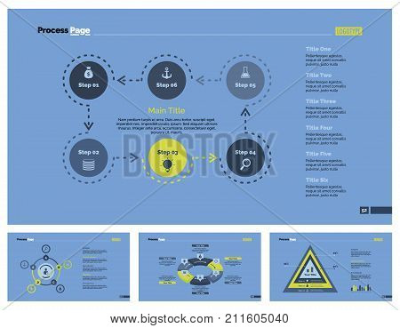 Infographic design set can be used for workflow layout, diagram, report, presentation, web design. Business and workflow concept with process, cycle, pie and percentage charts.