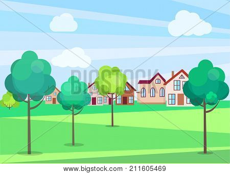 Park trees in summer time with green grass and residential buildings on background. Vector poster of outdoor nature beauty template