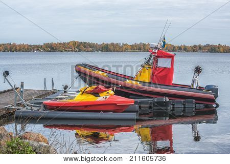 Boat Of The Rescue Service On The Lake.