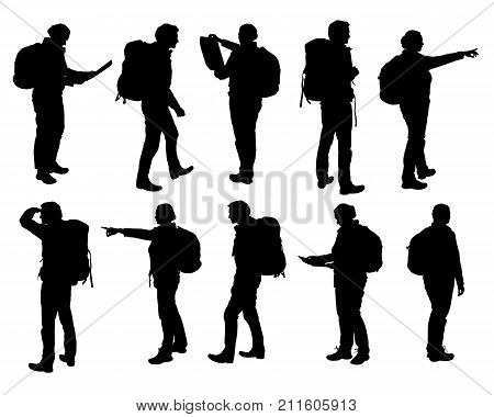 Set of vector realistic silhouettes of man and woman standing walking and showing hand and map and backpack in different poses - isolated on white background