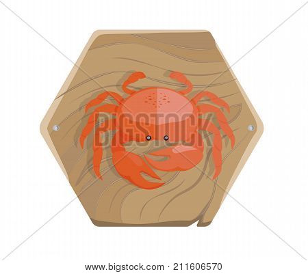 Fresh red sea crab with big claws and small black eyes on a wooden tray isolated on white background. Delicious seafood on salver.
