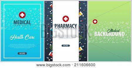 Set Of Medical Posters. Medical Care. Health Care. Vector Medicine Illustration.