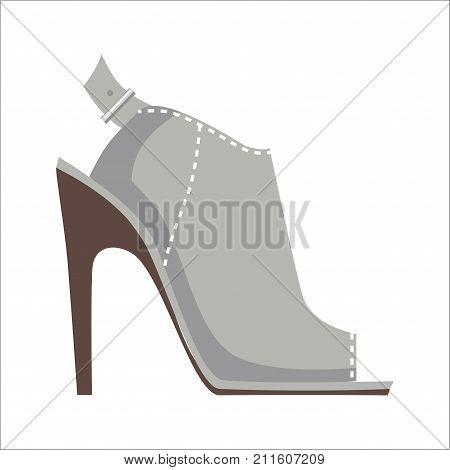 Grey open-toed mules shoe with high heel and stitching isolated on white background. Vector illustration of elegant women s shoes. Fashionable shoes with high heels for warm summer and spring.