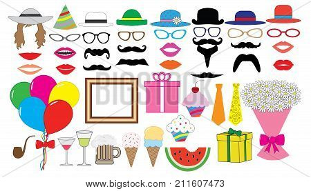 Birthday party set. Vector. Hat cap glasses lips mustaches tie balloons bouquet and etc. icons.