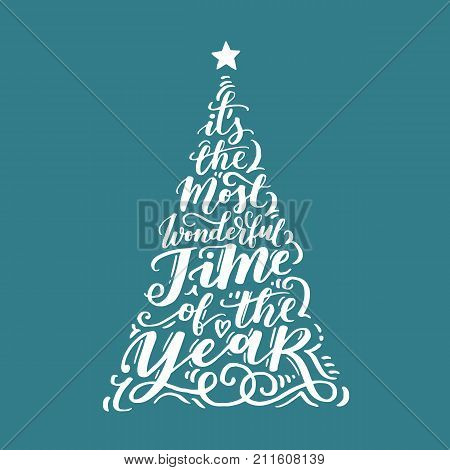 Vector Christmas Vintage Tree Of Holidays Lettering On Blue Background. Merry Christmas Text For Inv