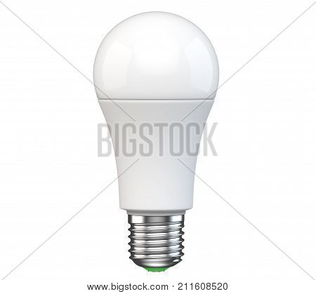 New technology LED light bulb isolated on white background. Realistic 3d rendering of energy super saving electric light-emitting diode lamp. Mockup is ready for your logo