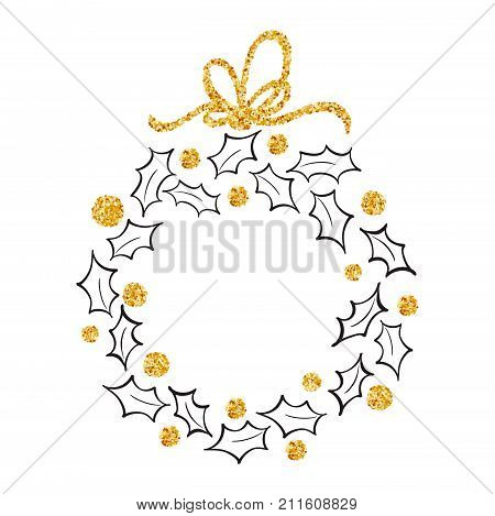 Round frame of Doodle Christmas wreath ilex with gold bow.