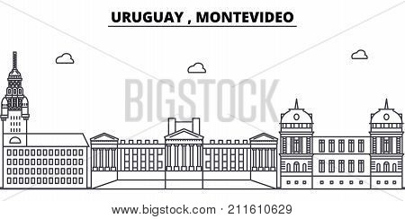 Uruguay , Montevideo architecture skyline: buildings, silhouette, outline landscape, landmarks. Editable strokes. Flat design line banner, vector illustration concept.