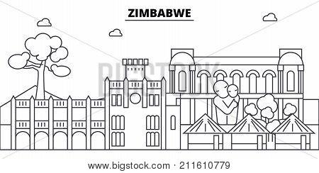 Zimbabwe architecture skyline: buildings, silhouette, outline landscape, landmarks. Editable strokes. Flat design line banner, vector illustration concept.