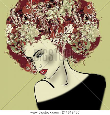art colorful illustration with face of beautiful girl in profile with floral pattern afro funky curly hair, in black party dress on olive background in mixed media style