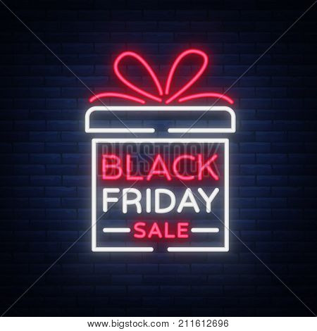 Black Friday vector isolated, poster banner in neon style. Bright sign sales Black Friday discounts.