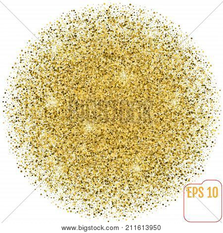 Golden Sphere Vector Banner On White Background. Gold Glitter Sp