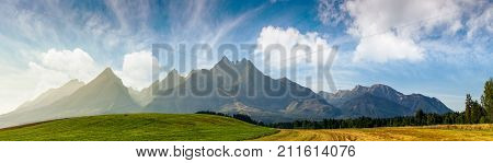 Rural Fields Near Tatra Mountains In Summer Time