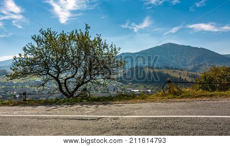 Countryside Road Through Rural Area In Mountains
