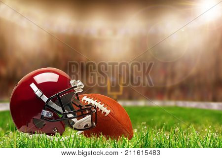 Football Equipment On Grass With Copy Space