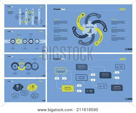 Infographic design set can be used for workflow layout, diagram, report, presentation, web design. Business and workflow concept with process, arrow, cycle, option and flow charts.