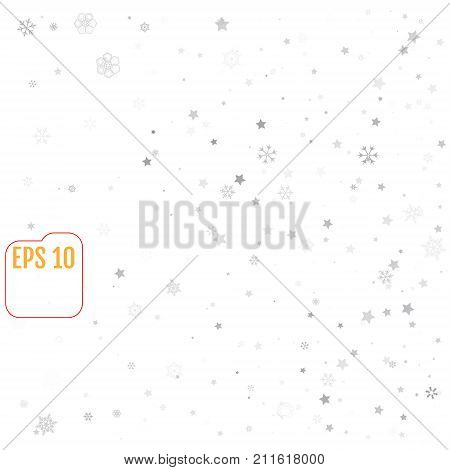 Star And Snowflake Falling Print. White Silver Starry Background