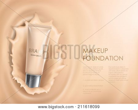 3D cosmetic illustration for the promotion of foundation premium product. Colorstay make-up in glass bottle against the backdrop of a splash of foundation