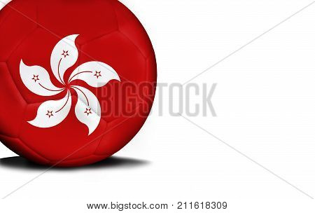 The flag of Hong Kong was represented on the ball, the ball is isolated on a white background with space for your text.