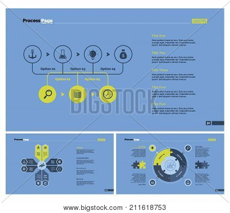 Infographic design set can be used for workflow layout, diagram, report, presentation, web design. Business and workflow concept with process, option and pie charts.