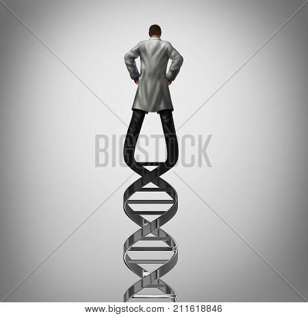 Genetics doctor and biotechnology researcher or genetisist concept as a scientist shaped as a DNA strand as a genome research symbol with 3D illustration elements.