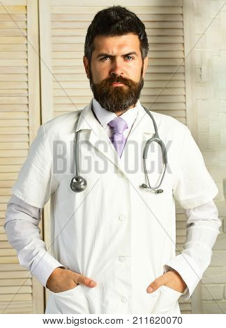 Physician With Confident Face Ready To Diagnose.
