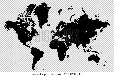 World Map Isolated On A Transparent Background, Highly Detailed Vector Illustration. All Elements Ar