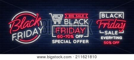 Set of neon signs, posters, brochures on the Black Friday sale. Glowing neon sign, bright glowing advertising, discounts on sales Black Friday. Vector illustration.