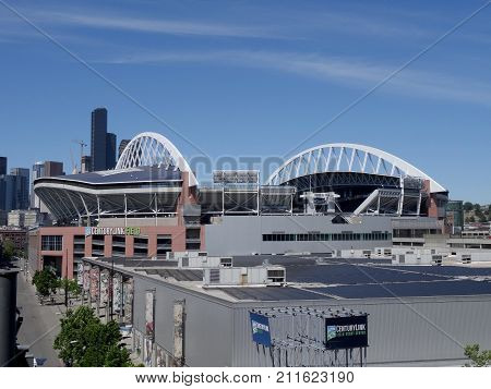SEATTLE - JUNE 25: Aerial view of CenturyLink in Seattle in June 25 2016. Home of the Seattle Seahawks (NFL) and Sounders (MLS).