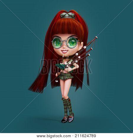 Cute cartoon female Scottish Bagpiper, 3D illustration