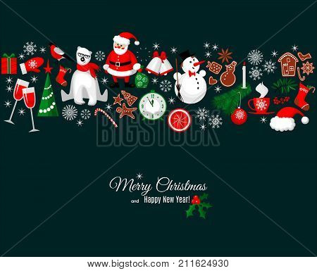 Merry Christmas and Happy New Year greeting card in retro style with winter design elements border pattern on dark background. Abstract background for Christmas decoration. Vector banner, poster