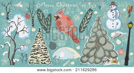 Creative Winter Collection. Set One. Snowman Spruce Tree Decorated Tree trees in snow Red Bird of Cardinal Street Lights snowdrift bunny in snow owl ornaments etc. Hand Drawn with paintbrush