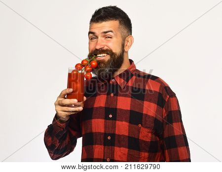 Farming And Autumn Concept. Guy Holds Homegrown Harvest.