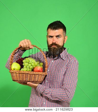 Farming And Autumn Crops Concept. Farmer With Serious Face