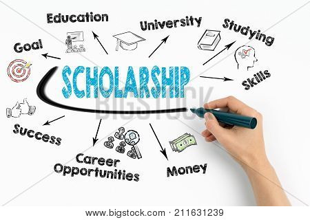scholarship Concept. Chart with keywords and icons on white background.