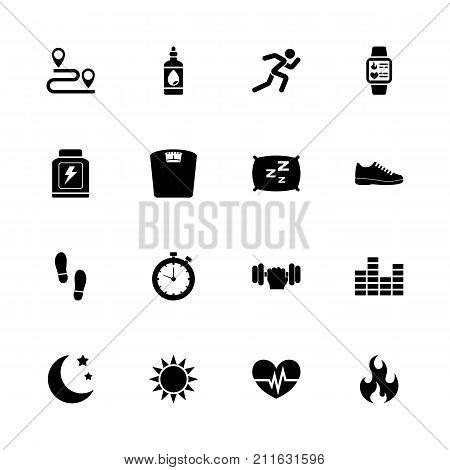 Activity Tracking icons - Expand to any size - Change to any colour. Flat Vector Icons - Black Illustration on White Background.