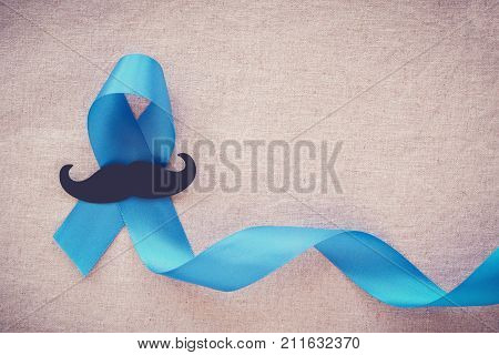 Light blue ribbons with mustache Prostate Cancer Awareness Men health awareness