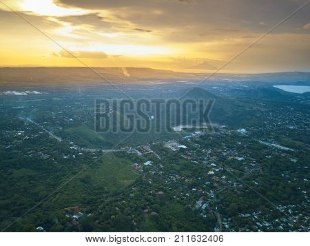 Managua aerial view from drone. Sunset in Managua city