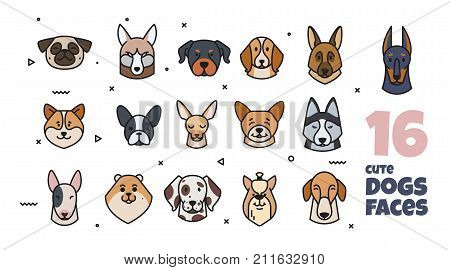Template label design with different breeds of dogs. The dog is a symbol of 2018.
