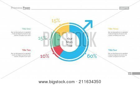 Pie chart of population slide template. Business data. Graph, diagram, design. Creative concept for infographic, report. Can be used for topics like demography, community, society