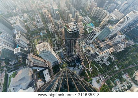 GUANGZHOU, CHINA - AUG 23, 2015: (top view) International Finance Center, IFC has height of 437.5 meters, with 103 floors